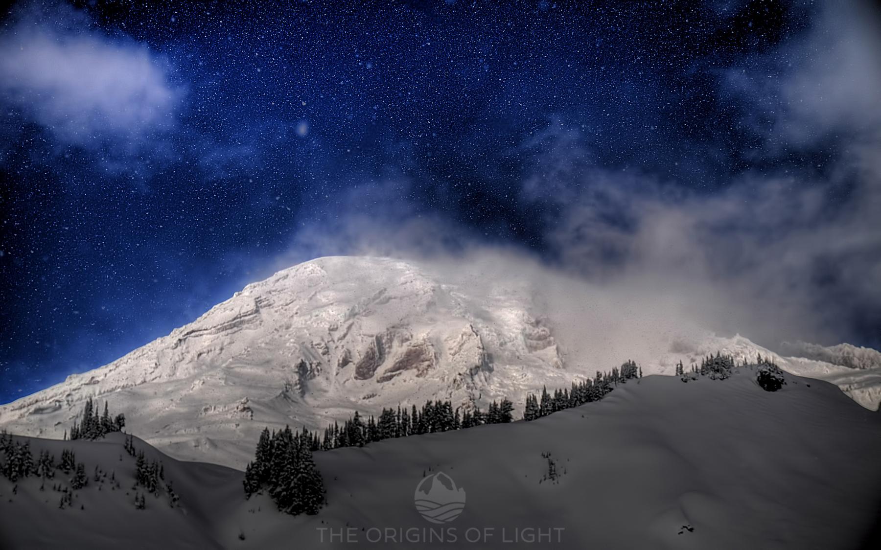 Mt. Rainier Snowy Sky