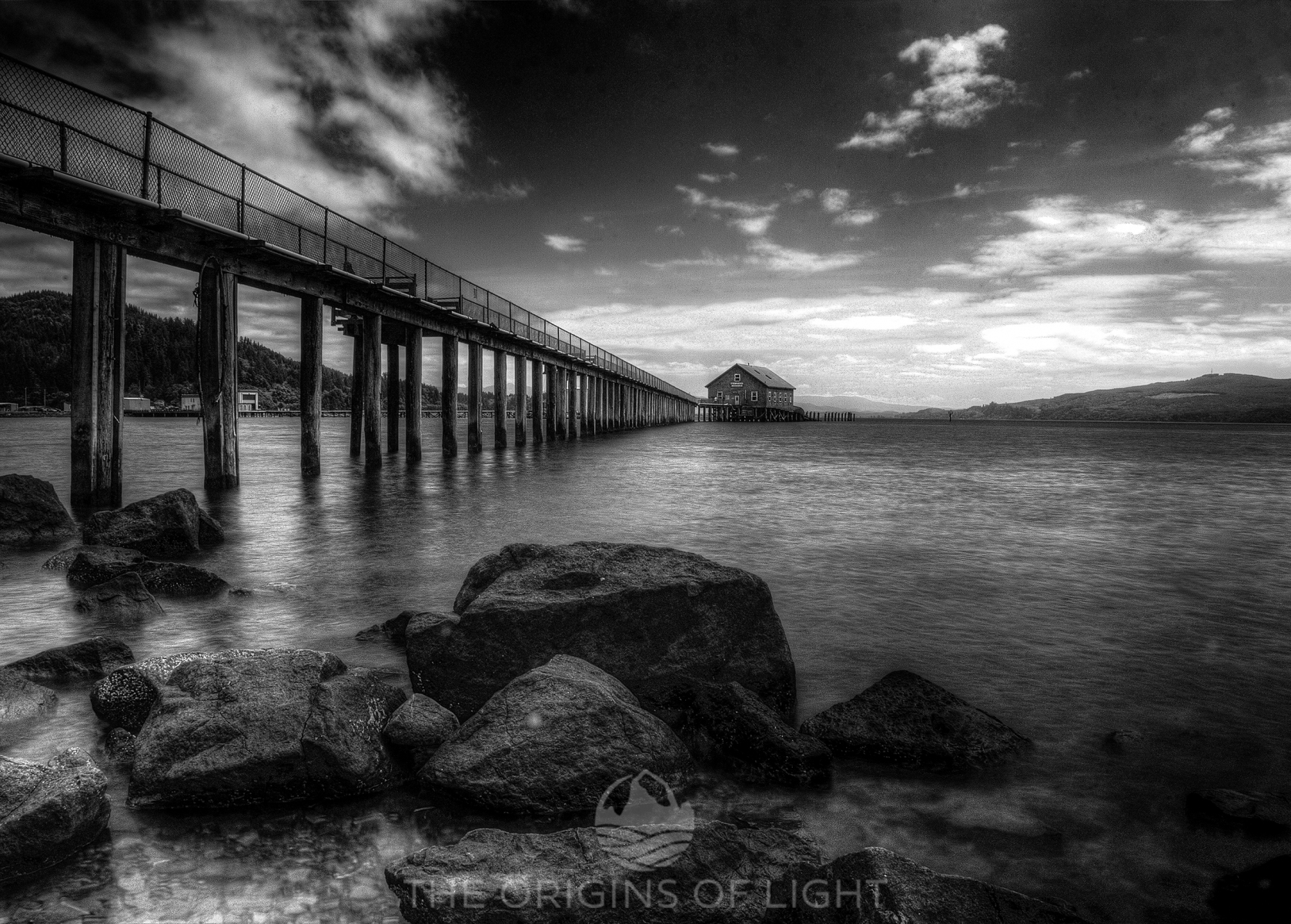 Pier's End in Black and White